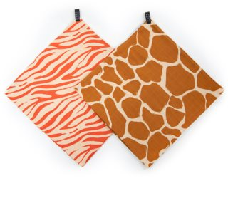 KLRK Home Wild Color Zebra&Giraffe Stoffwindeln 96x96 cm