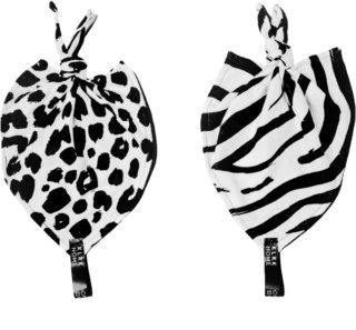 KLRK Home Wild B&W Leopard&Zebra Kuscheldecke mit Knoten 26x26 cm