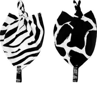KLRK Home Wild B&W Zebra&Giraffe Kuscheldecke mit Knoten 26x26 cm