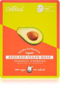 L'biotica Vegan Organic Avocado máscara em folha com efeito regenerador
