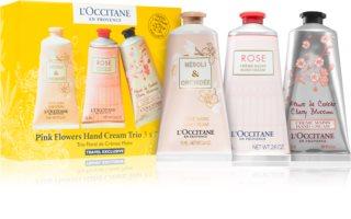 L'Occitane Pink Flowers Hand Cream Trio zestaw (do rąk)