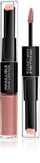 L'Oréal Paris Infallible dlhotrvajúci rúž a lesk na pery 2 v 1