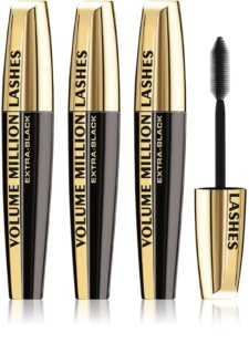 L'Oréal Paris Volume Million Lashes Extra Black Længdegivende og volumengivende mascara Black (3 stk) Skygge