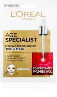 L'Oréal Paris Age Specialist 45+ υφασμάτινη μάσκα για άμεση σύσφιξη και λείανση του δέρματος
