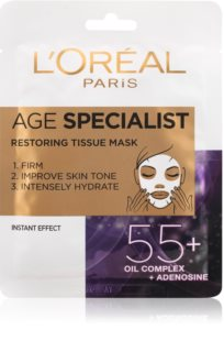 L'Oréal Paris Age Specialist 55+ тканинна маска для інтенсивного розгладження та  освітлення шкіри