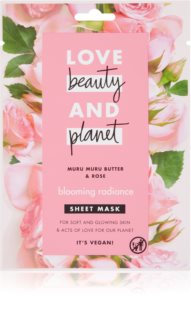 Love Beauty & Planet Blooming Radiance Muru Muru Butter & Rose plátenná maska pre rozjasnenie pleti