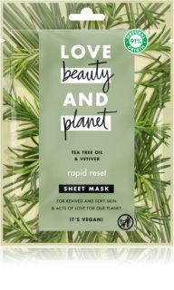 Love Beauty & Planet Rapid Reset Tea Tree Oil & Vetiver plátenná maska s osviežujúcim účinkom