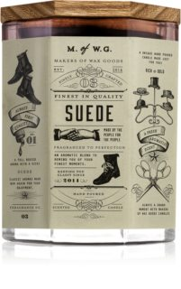 Makers of Wax Goods Suede dišeča sveča  z lesenim stenjem