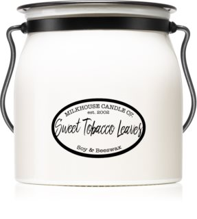 Milkhouse Candle Co. Creamery Sweet Tobacco Leaves illatos gyertya  Butter Jar