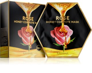 Missha Honey Compote Mask Rose plátenná maska s rozjasňujúcim a hydratačným účinkom 5 ks
