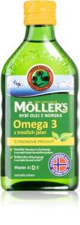 Möller's Omega 3 50+ norský rybí tuk z tresčích jater s příchutí citronu