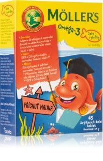 Möller's Omega 3 Želé rybičky malinová příchuť žvýkací tablety s rybím olejem na podporu zdravého rozvoje nervové soustavy