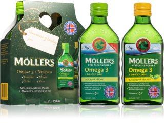 Möller's Omega 3 citron+jablko dárkové balení doplněk stravy pro podporu imunity, zdravých kostí a správného fungování kardiovaskulárního sytému
