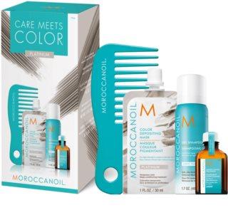 Moroccanoil Care Meets Color Set Platinum (För blont och slingat hår)
