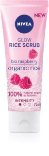 Nivea Rice Scrub Raspberry озаряващ пилинг за чувствителна кожа на лицето