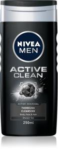 Nivea Men Active Clean Dusch-gel för ansikte, kropp och hår för män
