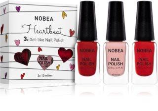 NOBEA Heartbeat sada laků na nehty Cardinal odstín
