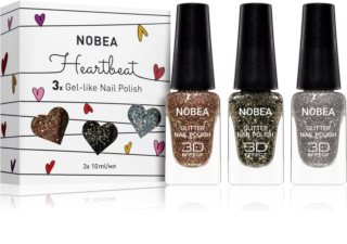 NOBEA Heartbeat Set mit glitzernden Nagellacken