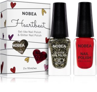 NOBEA Heartbeat colourful and glittery nail polish set Festive Red Shade
