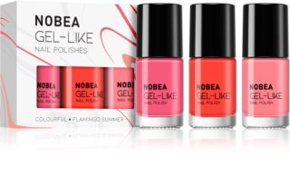 NOBEA Colourful kit med nagellack Flamingo Summer Skugga