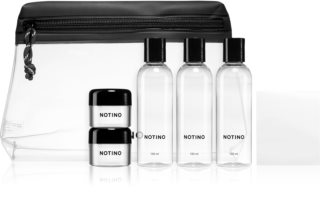 Notino Travel Collection travel set of 5 empty containers in a cosmetic bag with stickers