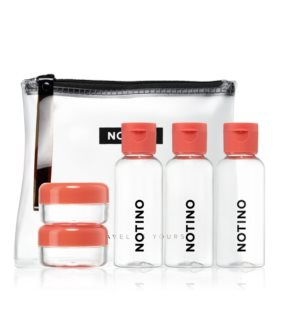 Notino Travel Travel set with 5 empty containers in a bag CORAL