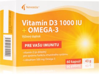 Noventis Vitamin D3 1000 IU + Omega 3 doplněk stravy pro podporu imunity