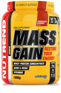 Nutrend MASS GAIN podpora tvorby svalové hmoty  chocholate coconut