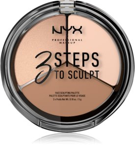 NYX Professional Makeup 3 Steps To Sculpt Púderes highlight és kontúr paletta
