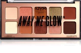 NYX Professional Makeup Away We Glow paletă cu farduri de ochi