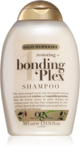 OGX Bonding Plex atkuriamasis šampūnas labai pažeistiems plaukams su išsišakojusiais galiukais
