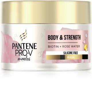 Pantene Body & Strength Rose Water Maske für die Haare für feines bis normales Haar