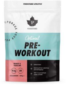 Puhdistamo Optimal Pre-Workout podpora sportovního výkonu bez kofeinu příchuť mango & raspberry