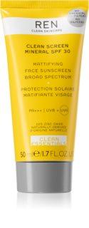 REN Clean Screen Mineral SPF 30 mattító napozó krém az arcra SPF 30