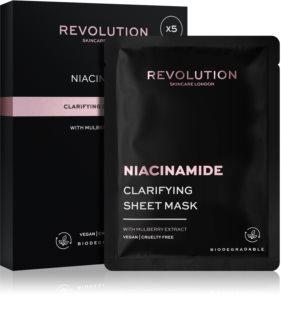 Revolution Skincare Niacinamide Clarifying Set di maschere di tessuto per pelli problematiche, acne