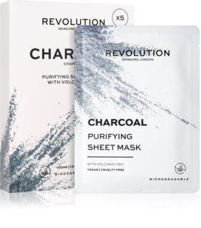 Revolution Skincare Purifying Charcoal Set di maschere di tessuto per pelli grasse e problematiche