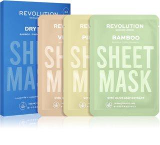 Revolution Skincare Biodegradable Dry Skin набір тканинних масок для зневодненої сухої шкіри