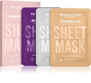 Revolution Skincare Biodegradable Combination Skin комплект платнени маски (за раздразнена и мазна кожа със силно лющене)
