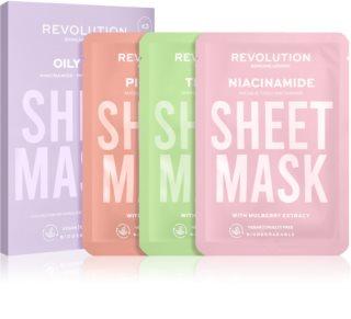 Revolution Skincare Biodegradable Oily Skin Set di maschere di tessuto per pelli grasse