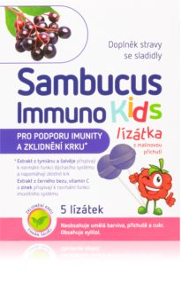 Sambucus Immuno Kids lízátka doplněk stravy  pro podporu imunitního systému