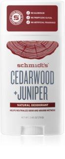 Schmidt's Cedarwood + Juniper твердий дезодорант без вмісту солей алюмінію