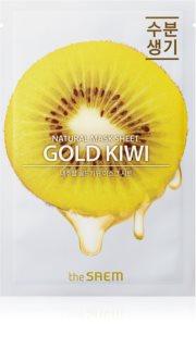 The Saem Natural Mask Sheet Gold Kiwi Zellschichtmaske mit aufhellender und feuchtigkeitsspendender Wirkung