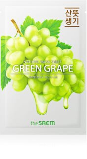 The Saem Natural Mask Sheet Green Grape szövet arcmaszk az arcbőr élénkítésére és vitalitásáért