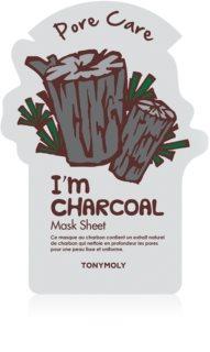 TONYMOLY I'm CHARCOAL mascarilla hoja para alisar la piel y minimizar los poros