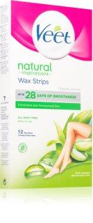 Veet Natural Inspirations bandes de cire pour épilation pour peaux normales et sèches