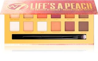 W7 Cosmetics Life's a Peach paleta senčil za oči z mat učinkom