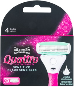 Wilkinson Sword Quattro for Women Sensitive náhradní břity 3 ks