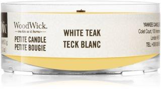 Woodwick White Teak candela votiva con stoppino in legno
