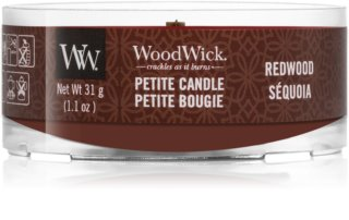 Woodwick Red Wood candela votiva con stoppino in legno