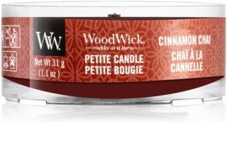 Woodwick Cinnamon Chai candela votiva con stoppino in legno